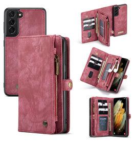 Caseme Caseme - vintage 2 in 1 portemonnee hoes - Samsung Galaxy S21 Plus - Rood
