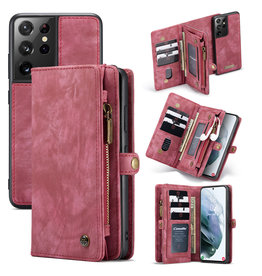 Caseme Caseme - vintage 2 in 1 portemonnee hoes - Samsung Galaxy S21 Ultra - Rood