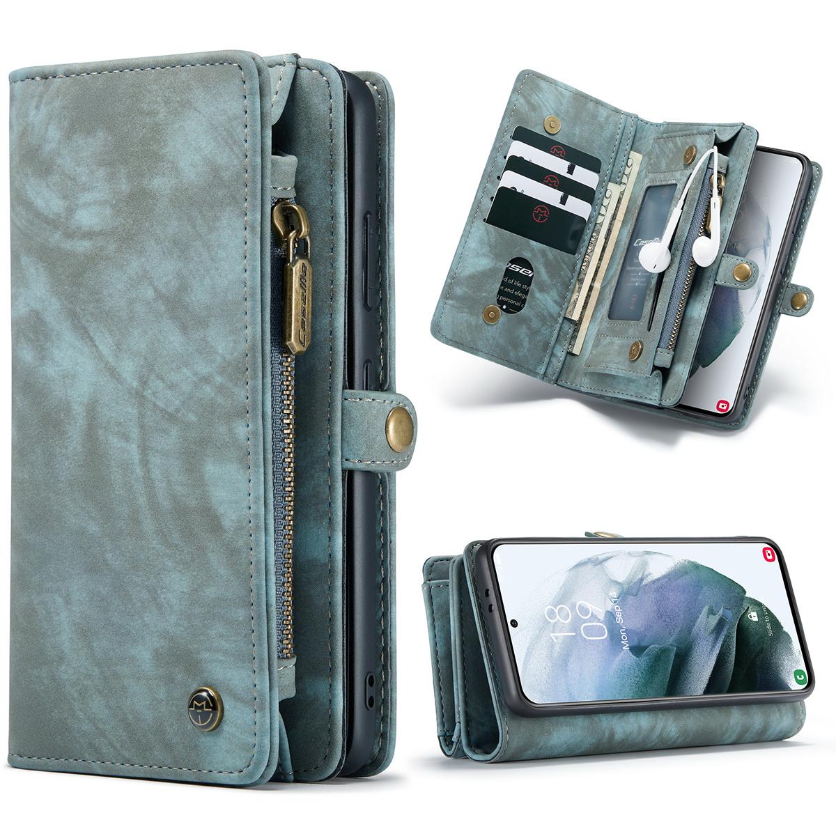 Caseme Vintage 2 in 1 portemonnee hoes Blauw voor de Samsung Galaxy S21 Ultra