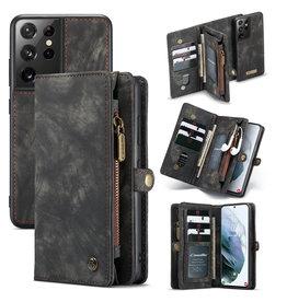 Caseme Caseme - vintage 2 in 1 portemonnee hoes - Samsung Galaxy S21 Ultra - Zwart