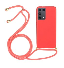 Lunso Lunso - Backcover hoes met koord - Samsung Galaxy S21 Ultra - Rood