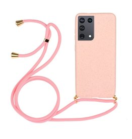 Lunso Lunso - Backcover hoes met koord - Samsung Galaxy S21 Ultra - Roze