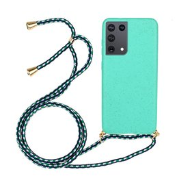 Lunso Lunso - Backcover hoes met koord - Samsung Galaxy S21 Ultra - Cyaan