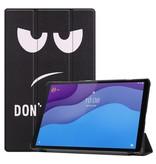 Lunso 3-Vouw sleepcover hoes Don't Touch voor de Lenovo Tab M10 HD Gen 2 (2e generatie)
