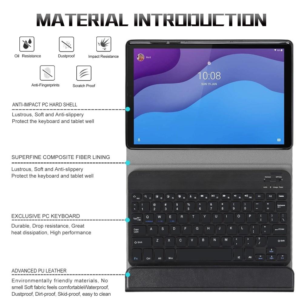 Lunso Afneembare Keyboard Hoes Zwart voor de Lenovo Tab M10 HD Gen 2 (2e Generatie)