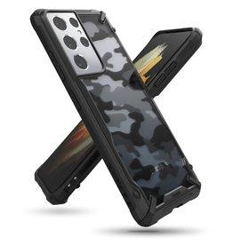 Ringke Ringke - Fusion X Guard backcover hoes - Samsung Galaxy S21 Ultra - Camo Zwart