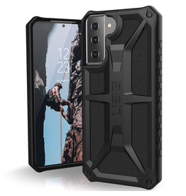 Urban Armor Gear UAG - Monarch backcover hoes - Samsung Galaxy S21 - Zwart + Lunso Tempered Glass