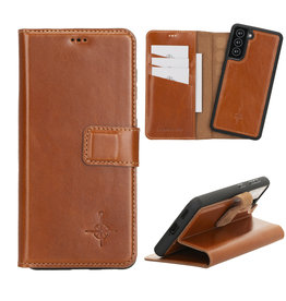 NorthLife NorthLife - Uitneembare 2-in-1 (RFID) bookcase hoes - Samsung Galaxy S21 - Burcht Trecht Cognac