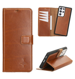 NorthLife NorthLife - Uitneembare 2-in-1 (RFID) bookcase hoes - Samsung Galaxy S21 Ultra - Burcht Trecht Cognac