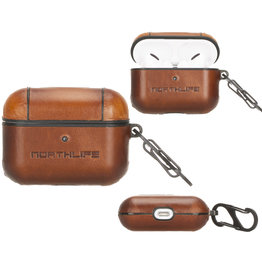NorthLife NorthLife - Haga lederen cover hoes - AirPods Pro - Cognac