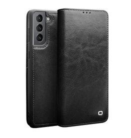 Qialino Qialino - echt lederen luxe wallet hoes - Samsung Galaxy S21 - Zwart
