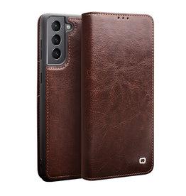 Qialino Qialino - echt lederen luxe wallet hoes - Samsung Galaxy S21 - Bruin