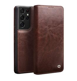 Qialino Qialino - echt lederen luxe wallet hoes - Samsung Galaxy S21 Ultra - Bruin