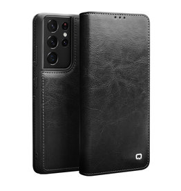 Qialino Qialino - echt lederen luxe wallet hoes - Samsung Galaxy S21 Ultra - Zwart