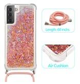 Lunso Backcover hoes Glitter Roze met koord voor de Samsung Galaxy S21 Plus