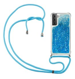 Lunso Lunso - Backcover hoes met koord - Samsung Galaxy S21 - Glitter Blauw