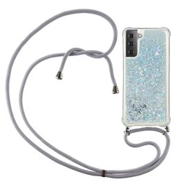 Lunso Lunso - Backcover hoes met koord - Samsung Galaxy S21 Ultra - Glitter Zilver