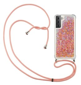 Lunso Lunso - Backcover hoes met koord - Samsung Galaxy S21 Ultra - Glitter Roze
