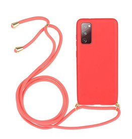 Lunso Lunso - Backcover hoes met koord - Samsung Galaxy S20 FE - Rood