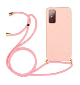 Lunso Lunso - Backcover hoes met koord - Samsung Galaxy S20 FE - Roze