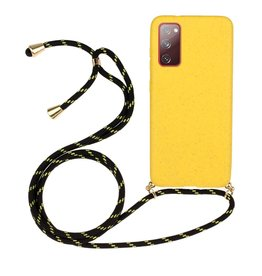 Lunso Lunso - Backcover hoes met koord - Samsung Galaxy S20 FE - Geel