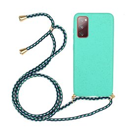 Lunso Lunso - Backcover hoes met koord - Samsung Galaxy S20 FE - Cyaan