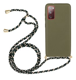 Lunso Lunso - Backcover hoes met koord - Samsung Galaxy S20 FE - Army Groen