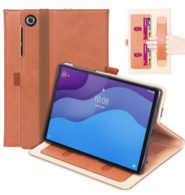 Lunso Luxe stand flip cover hoes - Lenovo Tab M10 HD Gen 2 (2e Generatie)  - Bruin