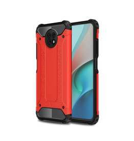 Lunso Lunso - Armor Guard backcover hoes - Xiaomi Redmi Note 9  - Rood
