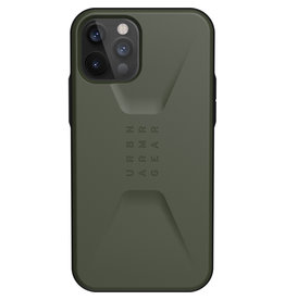 Urban Armor Gear UAG - Civilian backcover hoes - iPhone 12 / iPhone 12 Pro - Groen + Lunso Tempered Glass