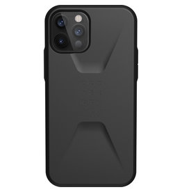 Urban Armor Gear UAG - Civilian backcover hoes - iPhone 12 / iPhone 12 Pro - Zwart + Lunso Tempered Glass