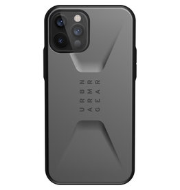 Urban Armor Gear UAG - Civilian backcover hoes - iPhone 12 / iPhone 12 Pro - Zilver + Lunso Tempered Glass