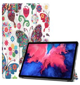 Lunso 3-Vouw sleepcover hoes - Lenovo Tab P11 - Vlinders