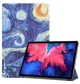Lunso 3-Vouw sleepcover hoes - Lenovo Tab P11 - Van Gogh Schilderij