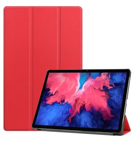 Lunso 3-Vouw sleepcover hoes - Lenovo Tab P11 - Rood