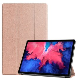 Lunso 3-Vouw sleepcover hoes - Lenovo Tab P11 - Roze Goud