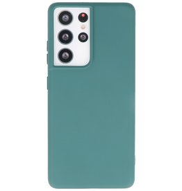 Lunso Lunso - Softcase hoes -  Samsung Galaxy S21 Ultra - Army Groen