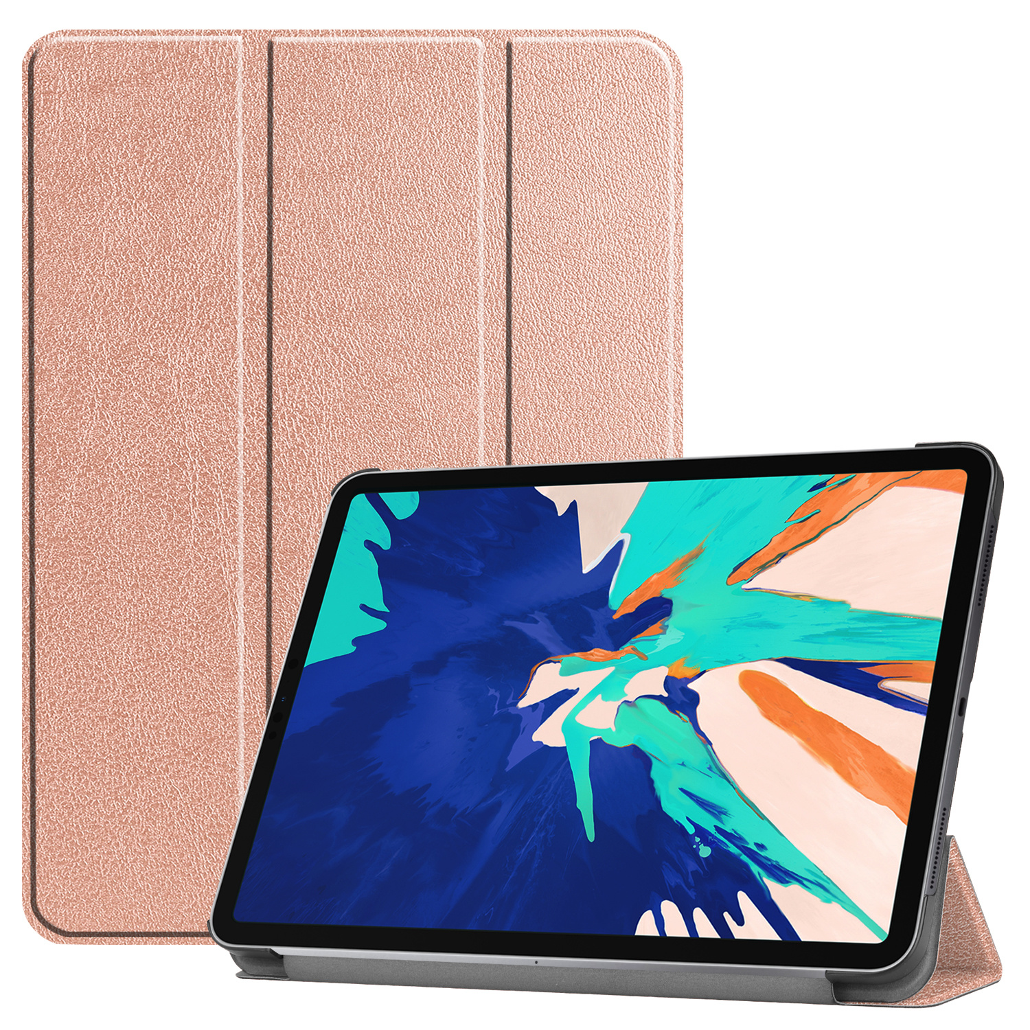 3-Vouw sleepcover hoes - iPad Pro 12.9 inch (2018-2019) - Rose Goud