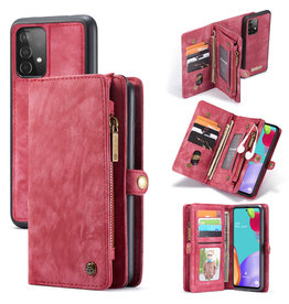 Caseme Caseme - vintage 2 in 1 portemonnee hoes - Samsung Galaxy A52 - Rood