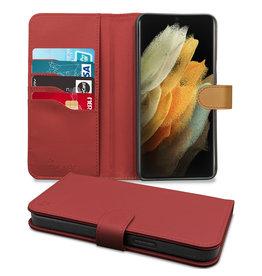 Hoyde Høyde - Vegan lederen bookcase hoes - 100% Biologisch Afbreekbaar - Samsung Galaxy S21 Ultra - Rood