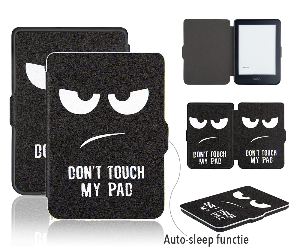 Lunso Don't Touch My Pad sleepcover flip hoes voor de Kobo Clara HD