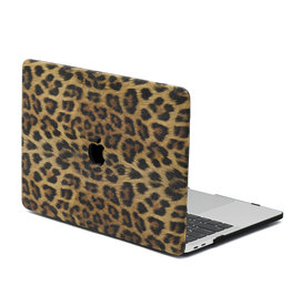 Lunso Lunso - Leren cover hoes - MacBook Pro 16 inch - Leopard Pattern Brown