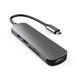 Lunso Lunso - Universele USB-C naar USB 3.0 / 2.0 en HDMI aluminium adapter - Zilver
