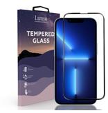 Lunso Gehard beschermglas met Zwarte Rand (Tempered Glass) voor de iPhone 13 Pro Max