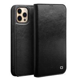 Qialino Qialino - lederen luxe bookcase hoes - iPhone 13 Pro Max - Zwart