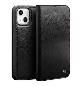 Qialino Qialino - lederen luxe bookcase hoes - iPhone 13 Mini - Zwart