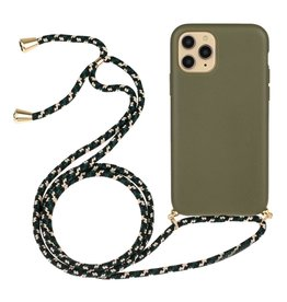 Lunso Lunso - Backcover hoes met koord - iPhone 13 Mini - Army Groen