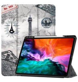 Lunso 3-Vouw sleepcover hoes - iPad Pro 12.9 inch (2021) - Eiffeltoren