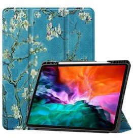 Lunso 3-Vouw sleepcover hoes - iPad Pro 12.9 inch (2021) - Van Gogh Amandelbloesem