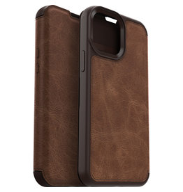 Otterbox iPhone 13 - Otterbox - Strada Case wallet hoes -  Bruin + Lunso Tempered Glass